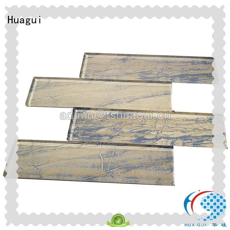 taupe aqua glass subway tile as decorative floor for home Huagui