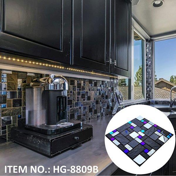 HG-8809B Iridescent glass and imitation stone ceramic mosaic tile