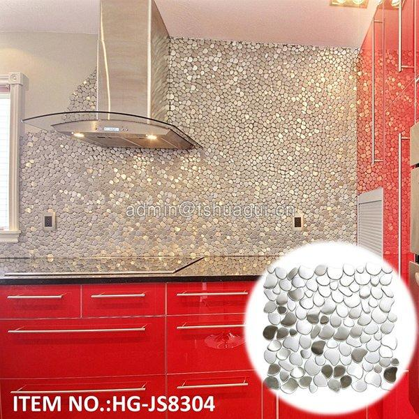 HG-JS8304  304 River Rock Pattern Mosaic Stainless Steel kitchen backsplash wall tile