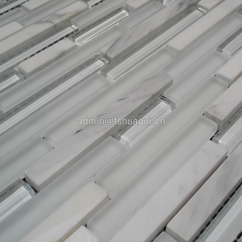 Huagui White kitchen background Glass marble mosaic tile  HG-CDT411 GLASS MOSAIC TILE image128