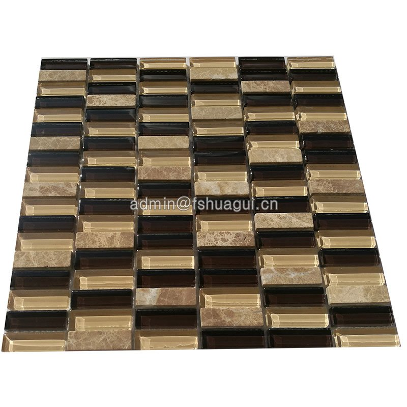Huagui Emperador marble mix glass mosaic tiles kitchen wall backsplash  HG-ES003 GLASS MOSAIC TILE image127