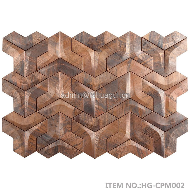 Huagui 3D antique copper mosaic tile  HG-CPM001 METAL MOSAIC TILE image12