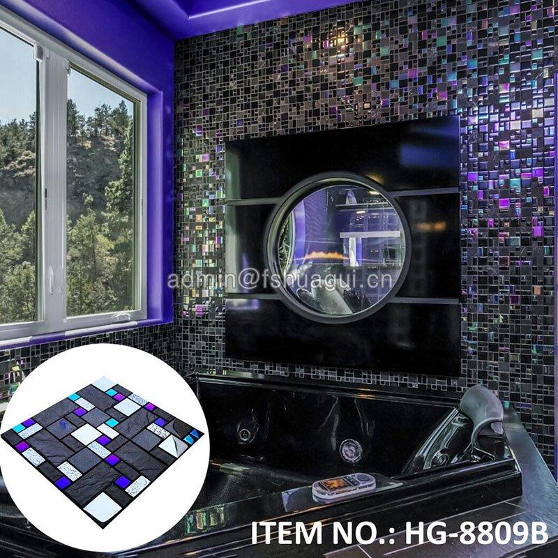 Huagui Iridescent glass and imitation stone mosaic tile HG-8809 CERAMIC MOSAIC TILE image16