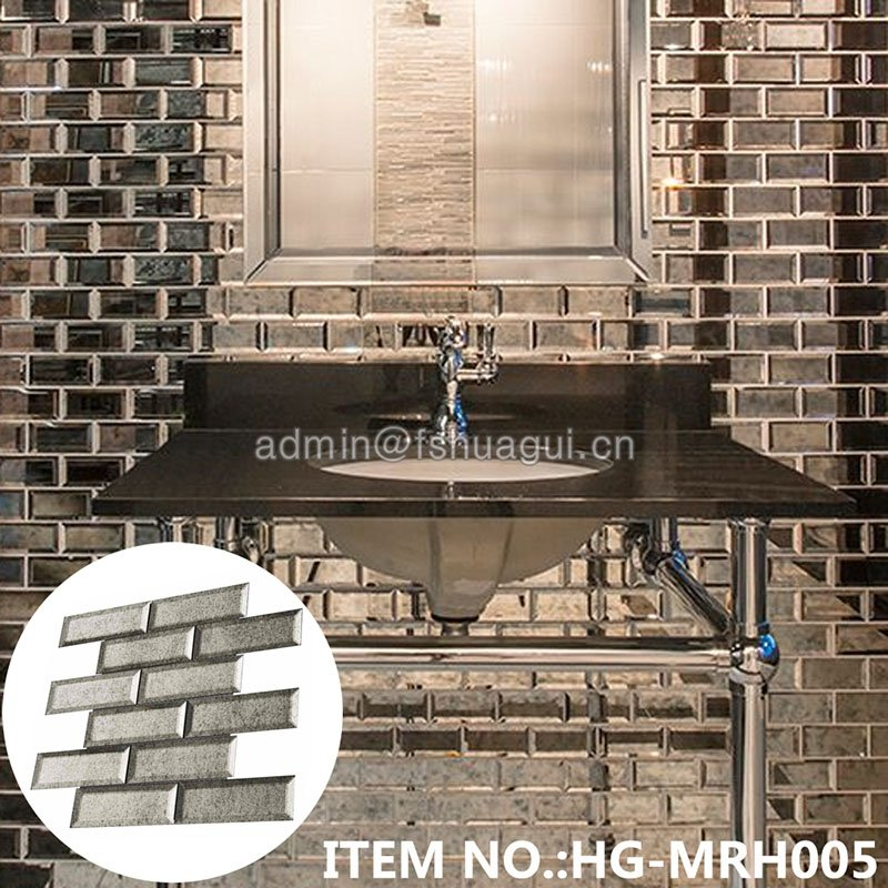 Huagui 2x6 silver antique mirror glass subway beveled tile  HG-MRH005 GLASS SUBWAY TILE image10