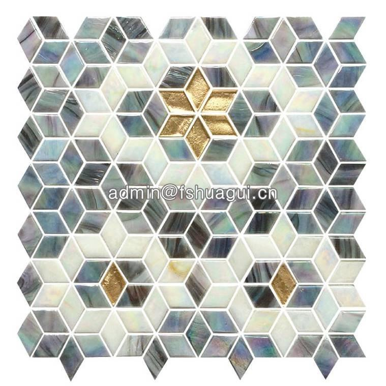 Fired earth rhombus mosaic glass tile HG-PTMR003