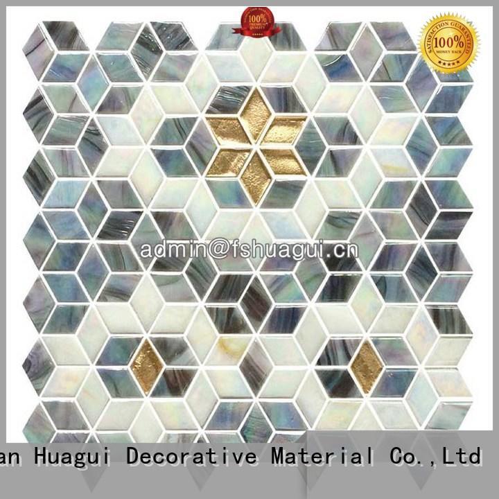 Fired earth rhombus mosaic glass tile HG-PTMR003