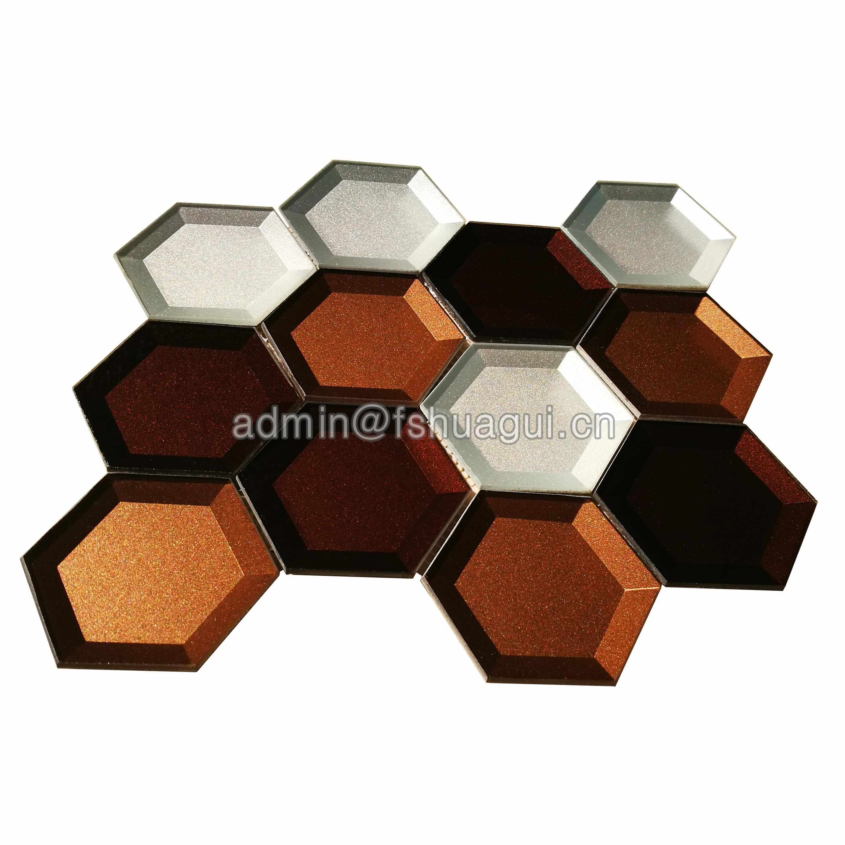 Huagui Mixed color glossy glass hexagon mosaic tile HG-HB010 GLASS MOSAIC TILE image120