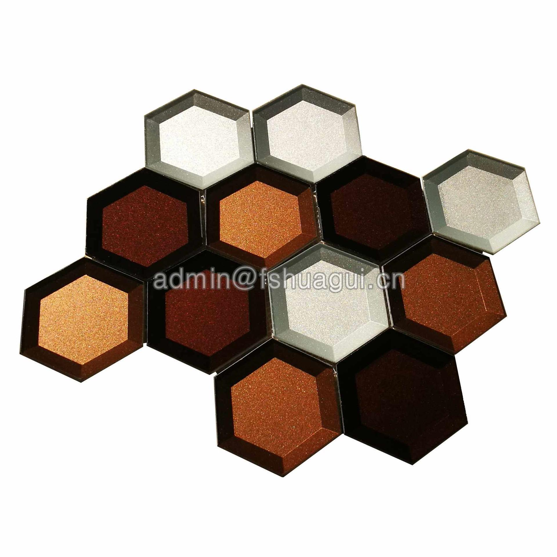 Mixed color glossy glass hexagon mosaic tile HG-HB010
