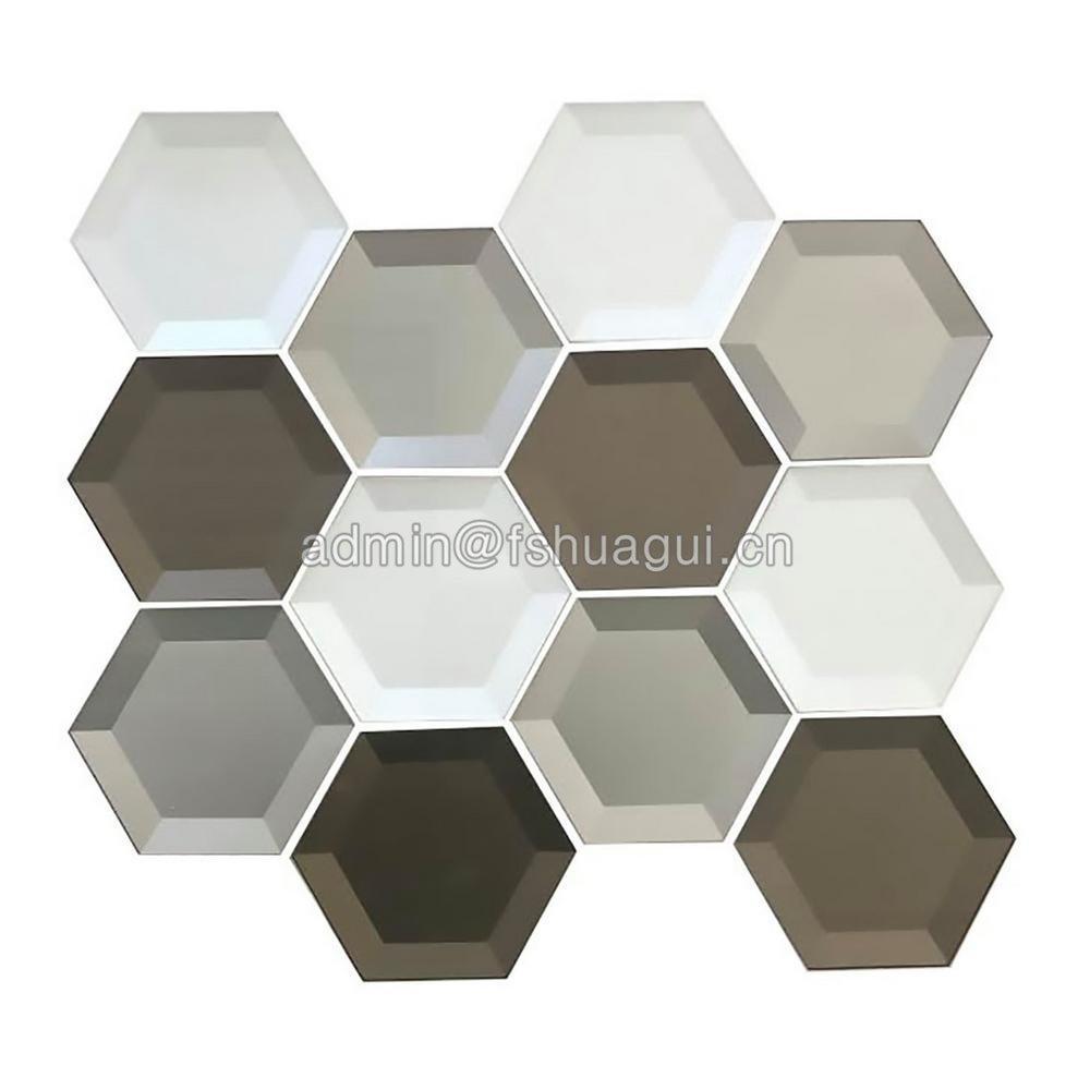 Mixed 3D Hexagon Crytal Glass Mosaic Tile HG-B040