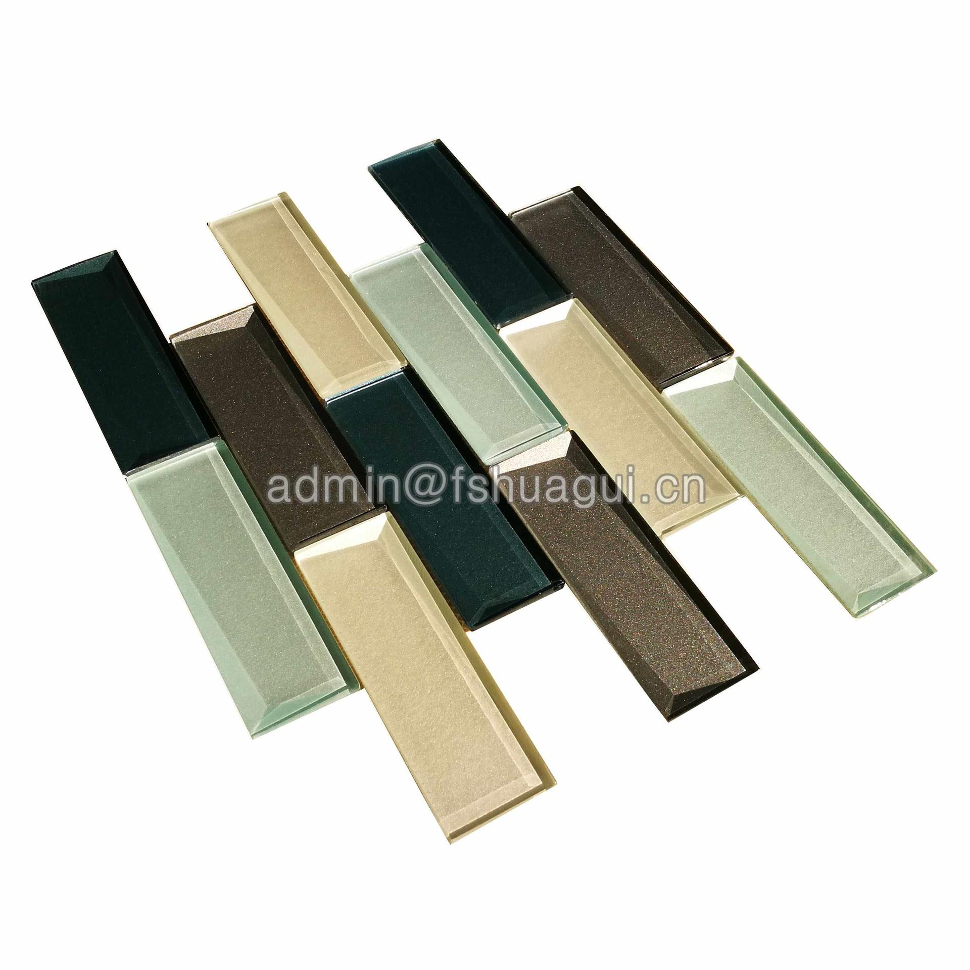 Glass subway beveled mosaic tile for kitchen backsplash