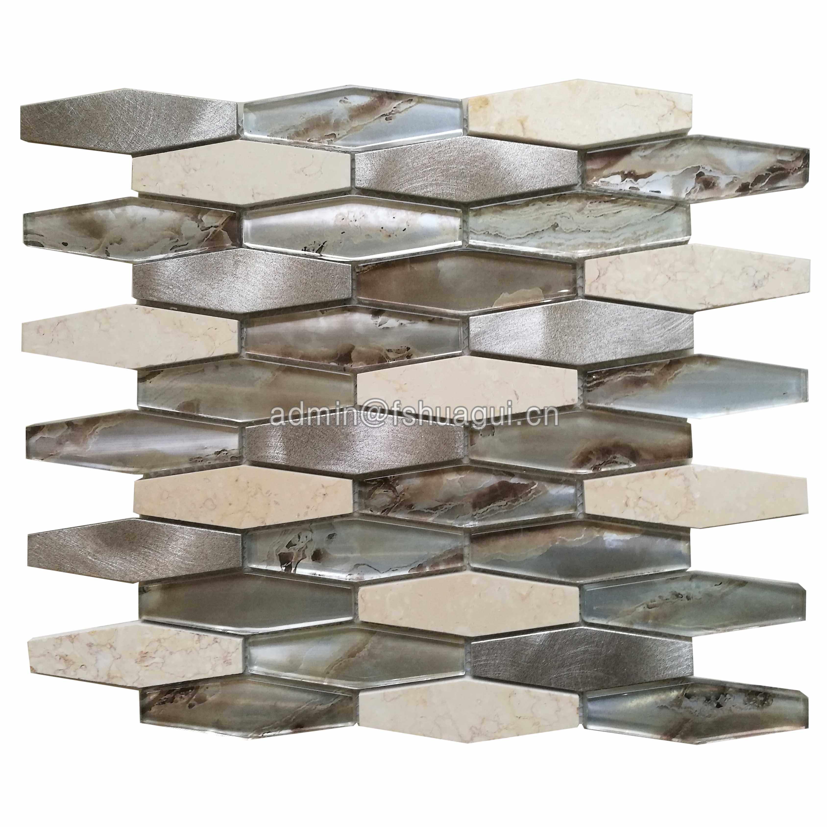 Huagui Metro Long Hexagon Aluminum and Glass Stone Mosaic Tiles GLASS MOSAIC TILE image118