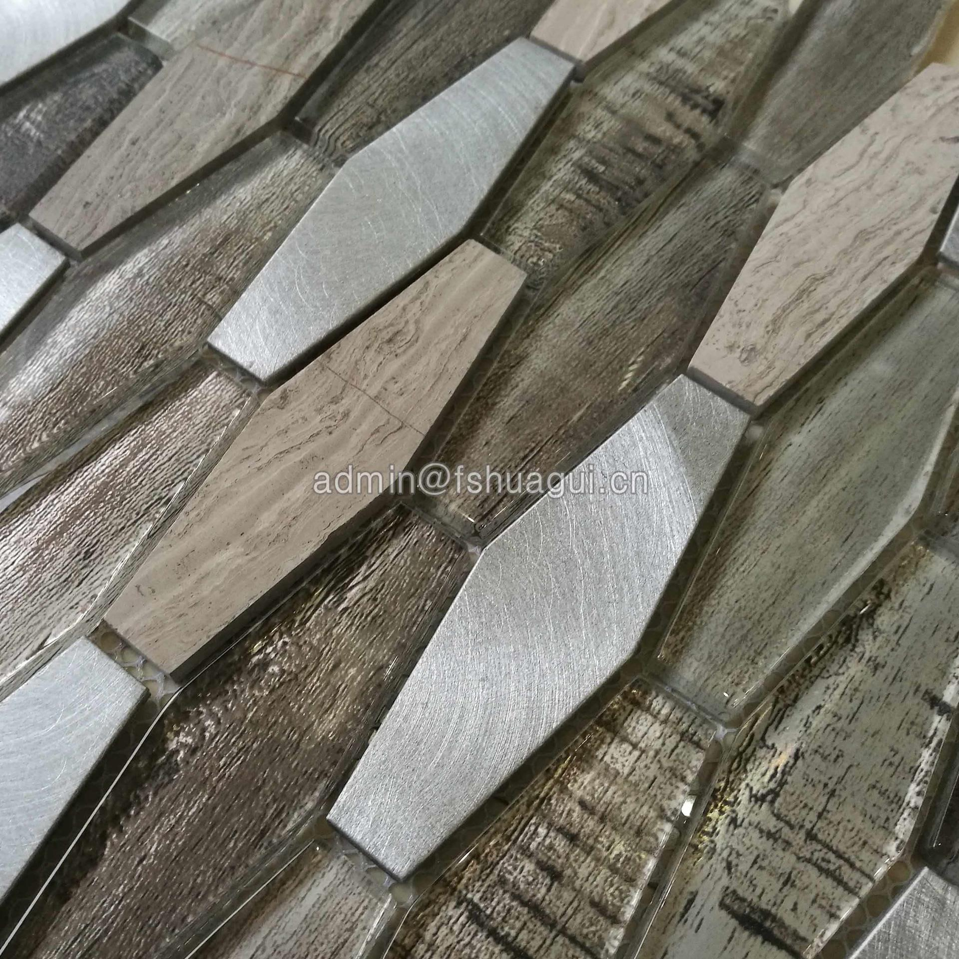 Metro Long Hexagon Aluminum and Glass Stone Mosaic Tiles