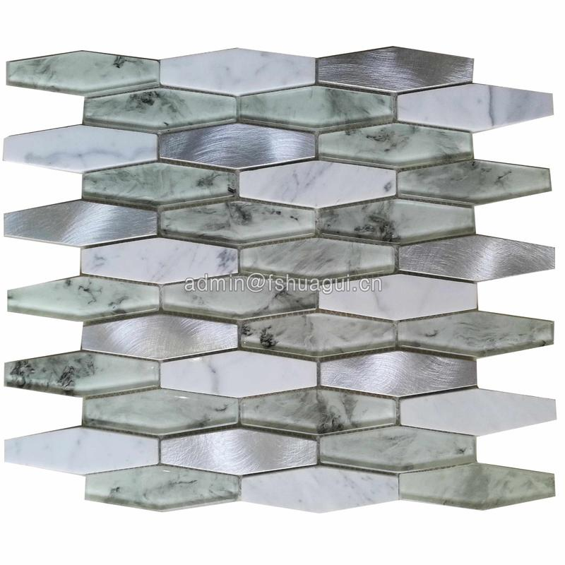 Hexagon 8mm Glass Stone Metal Backsplash Wall Tile White
