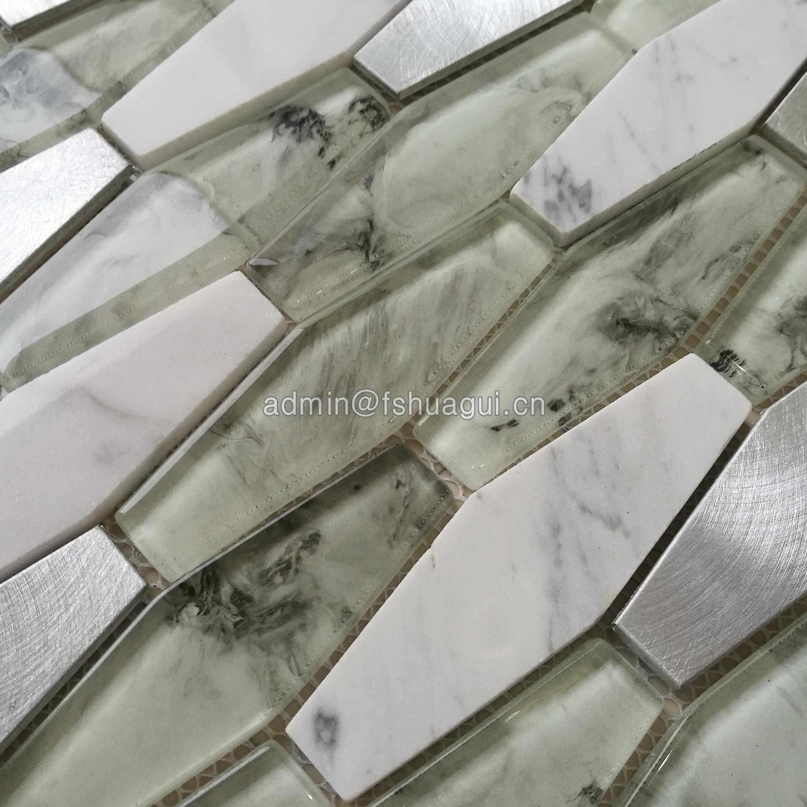 Huagui Hexagon 8mm Glass Stone Metal Backsplash Wall Tile White GLASS MOSAIC TILE image117