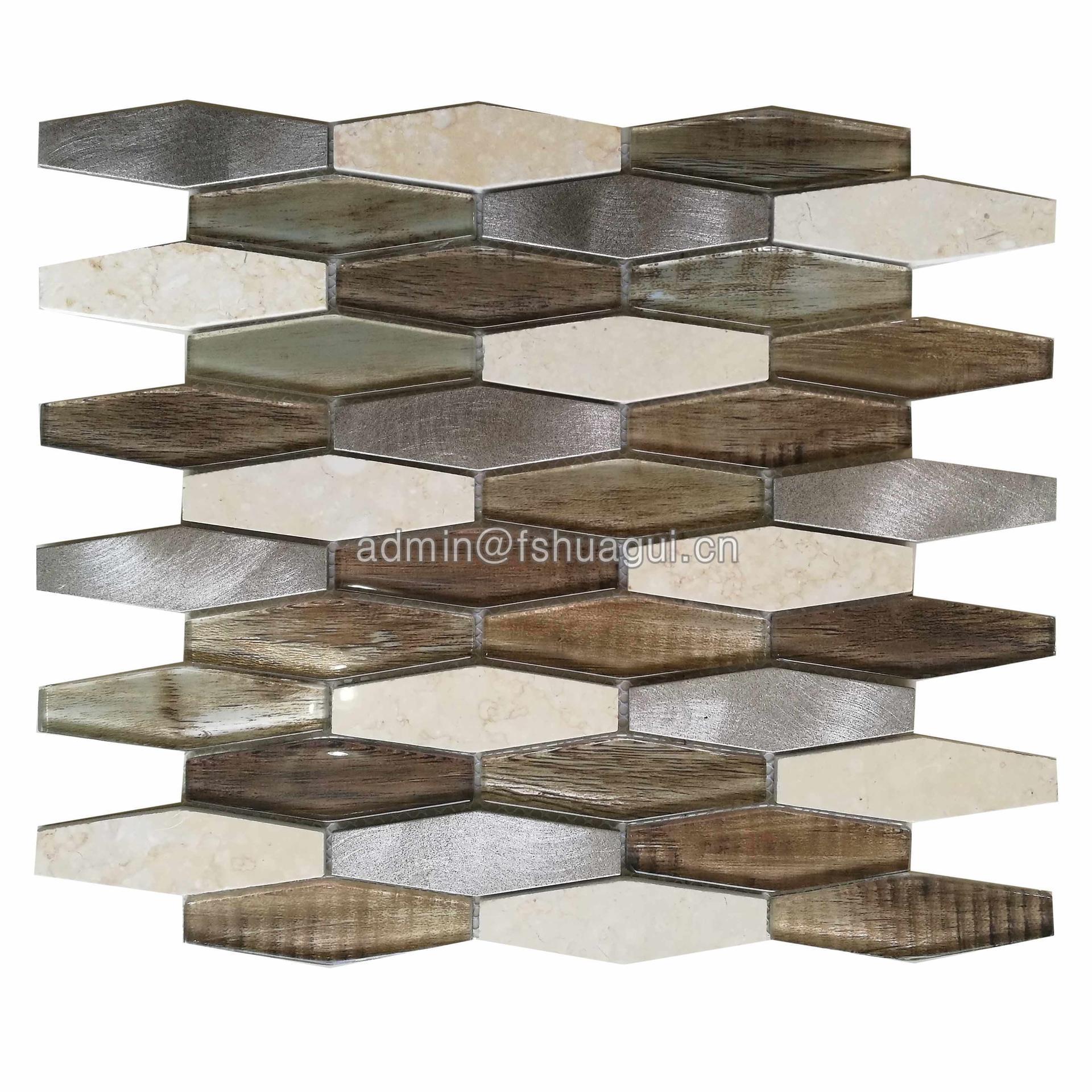 Mixed Brown Hexagon Metal Glass Stone Mosaic Tile Backsplash