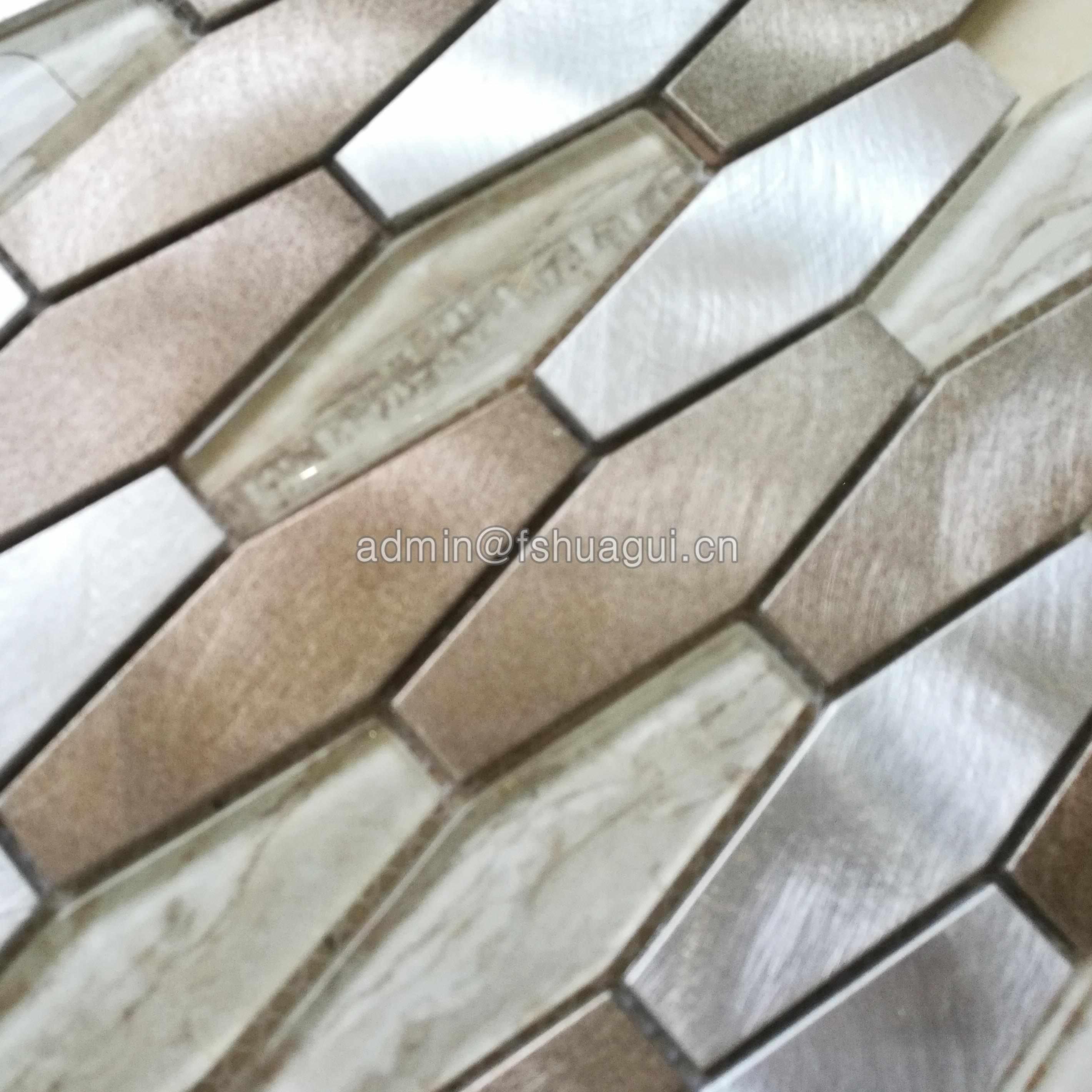 Huagui Mixed Brown Hexagon Metal Glass Stone Mosaic Tile Backsplash GLASS MOSAIC TILE image116