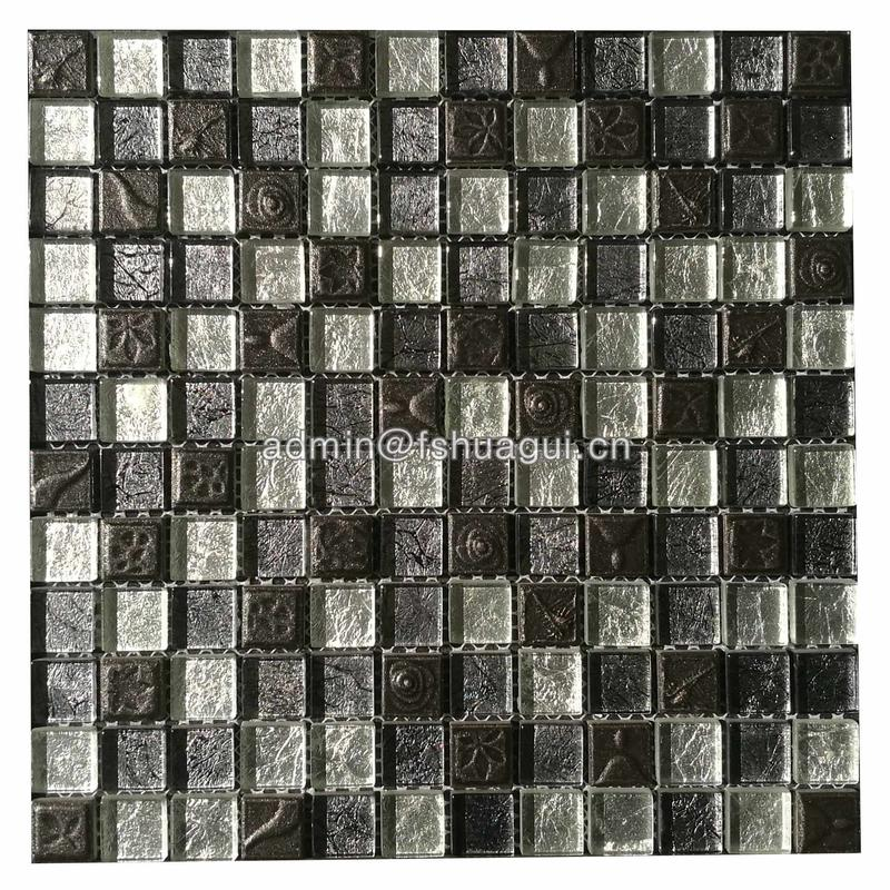 Luxury Black Resin Mixed Foil Glass Crystal Mosaic Kitchen Bathroom Tile