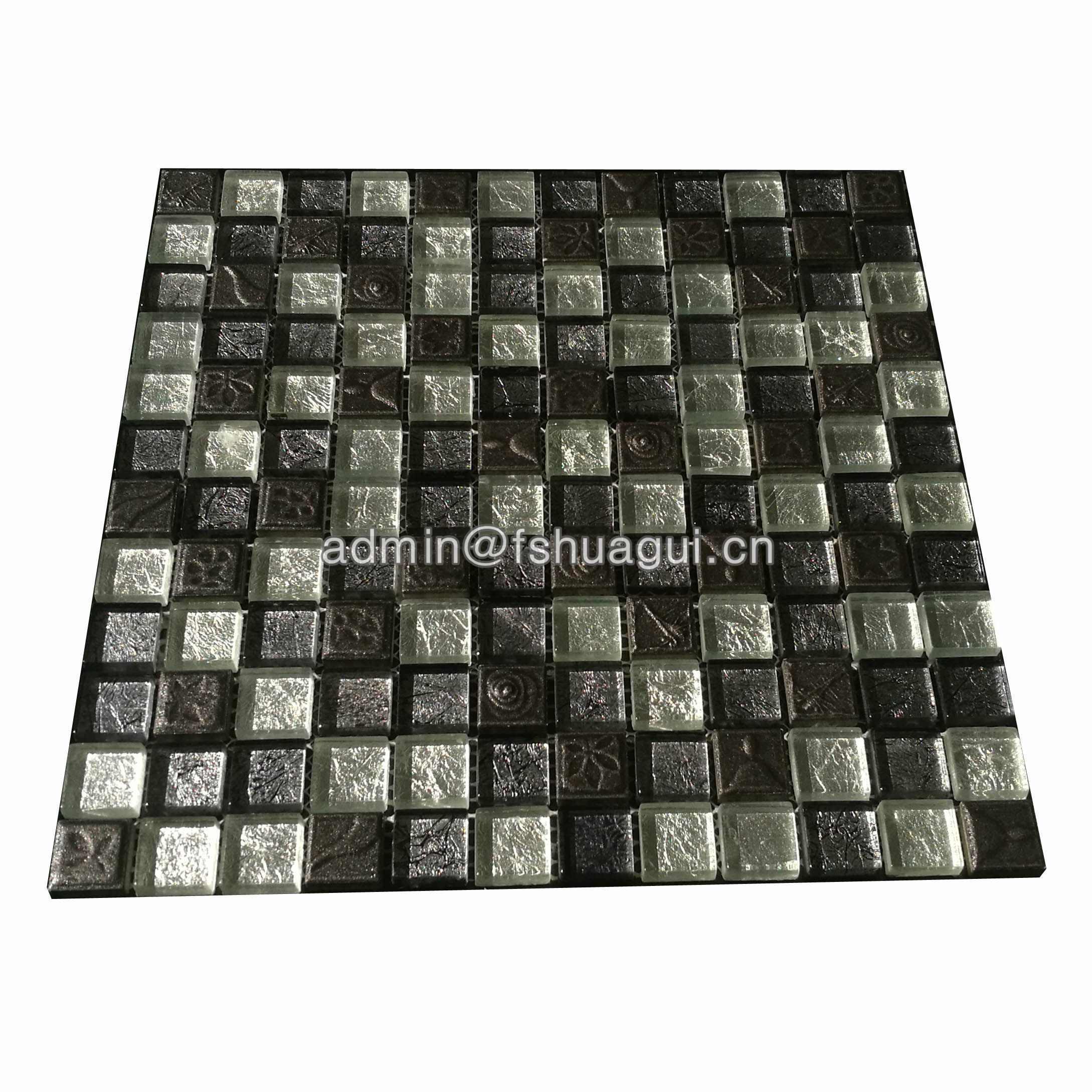 Huagui Luxury Black Resin Mixed Foil Glass Crystal Mosaic Kitchen Bathroom Tile GLASS MOSAIC TILE image115