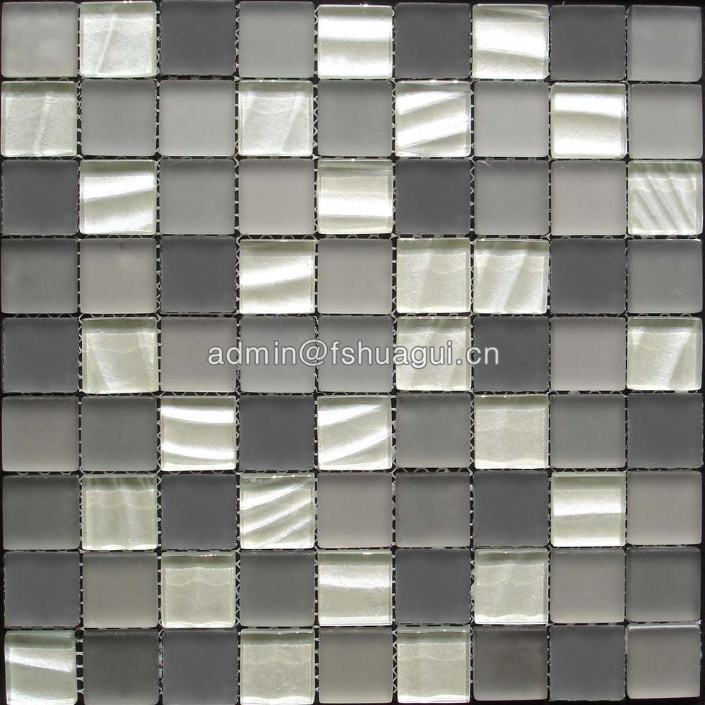 Metallic Cold Spray Crystal Glass Mosaic Tile Backsplash HG-830001