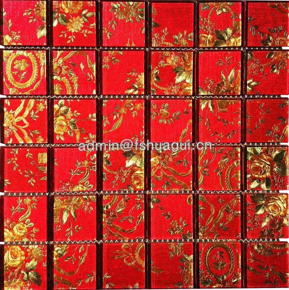 Glass Mosaic Mixed Red Gold Color 48*48mm Mosaic Tile for Wall Backsplash