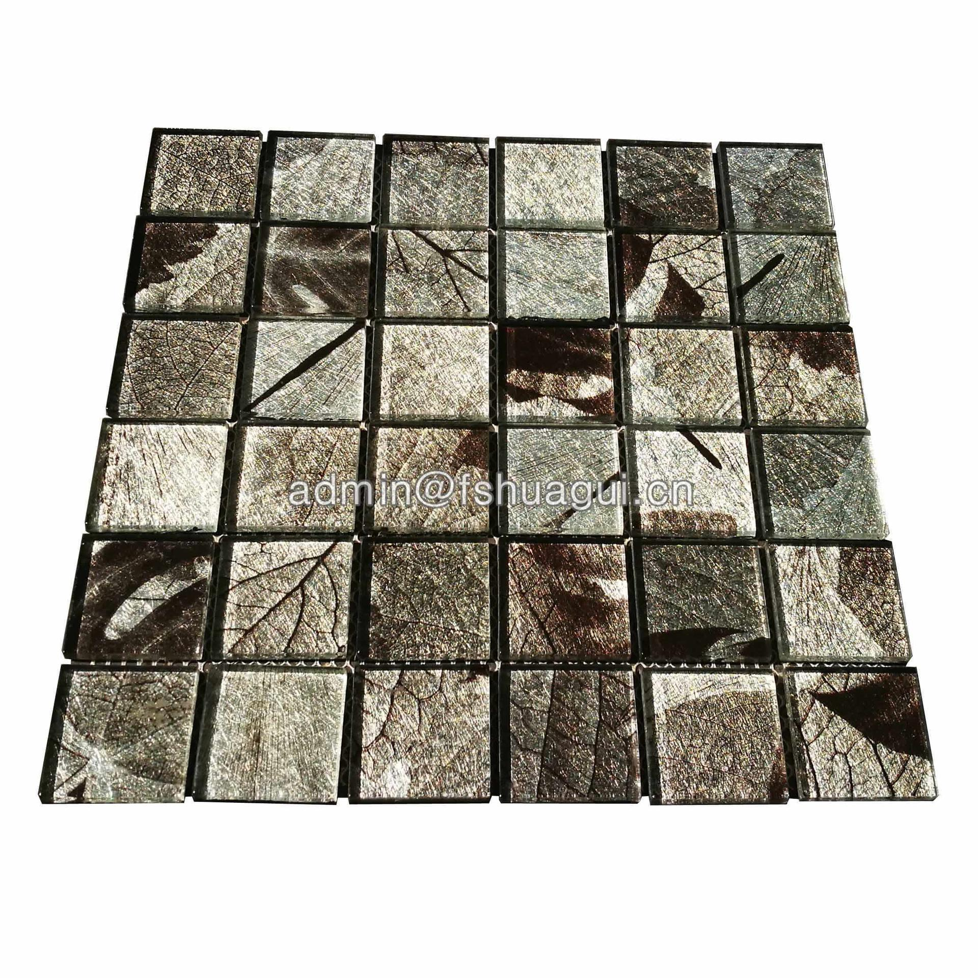 Gold Foil Crystal Glass Mosaic Gray Leaf Texture Glass Tiles