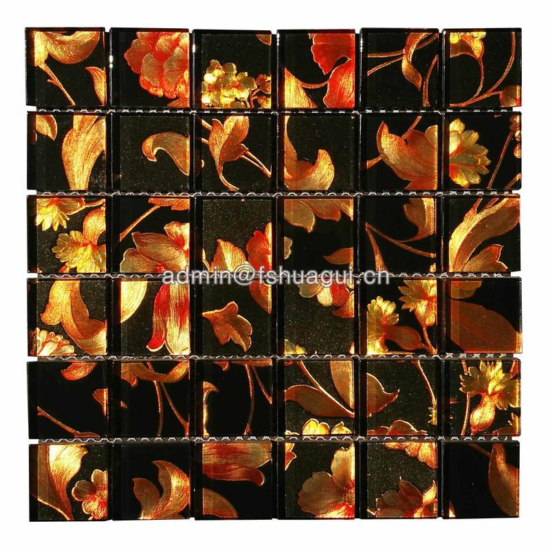 Glass mosaic tile black and gold crystal backsplash plated mosaic wall tile desgin