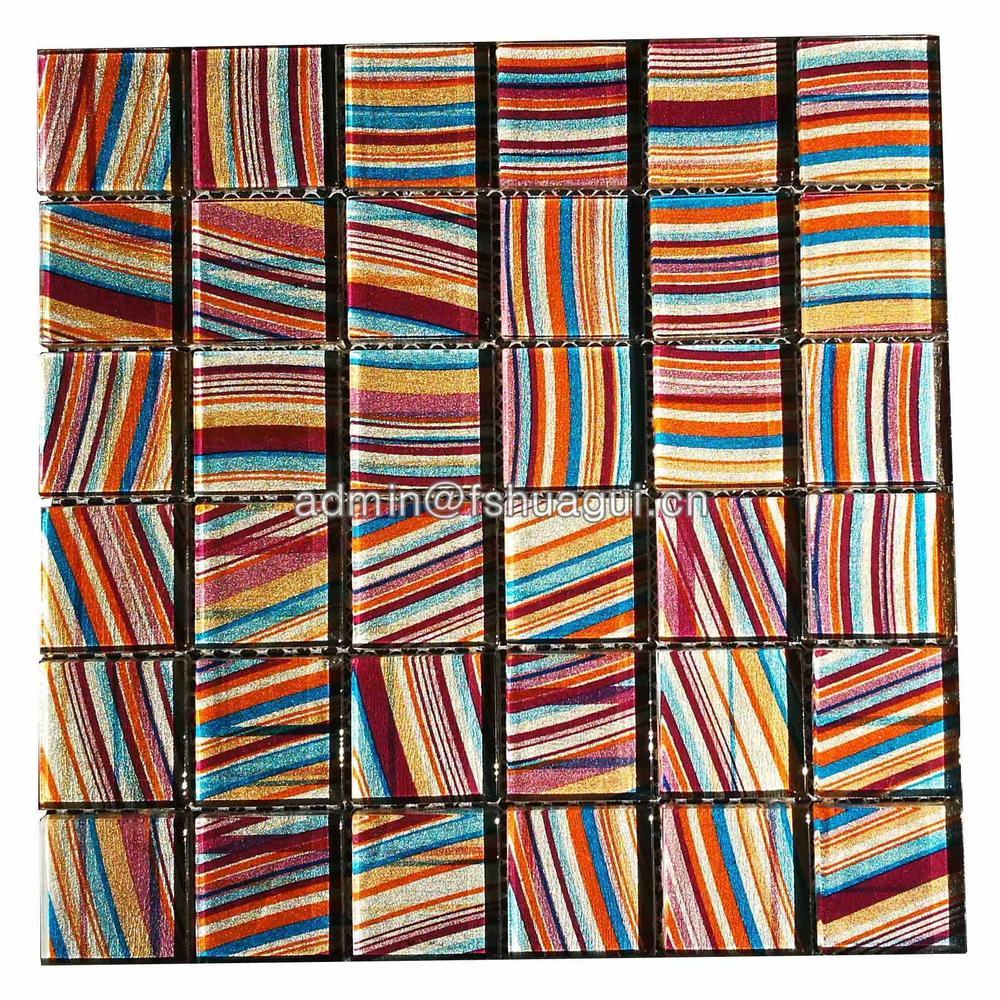 Iridescent Mosaic Tile Glass Backsplash Rainbow Kitchen Designs Multicolor Crystal Bathroom Wall Tiles