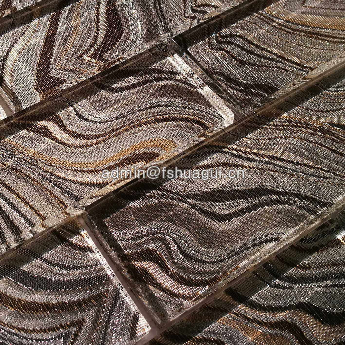 Huagui Interior Wall Covering Glass Decoration Subway Backsplash Tile Mosaic GLASS SUBWAY TILE image6