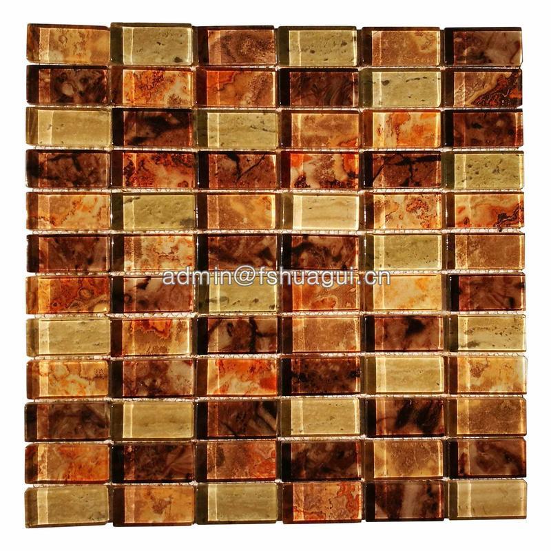 Luxury gold inkjet crystal glass mosaic tile design ideas