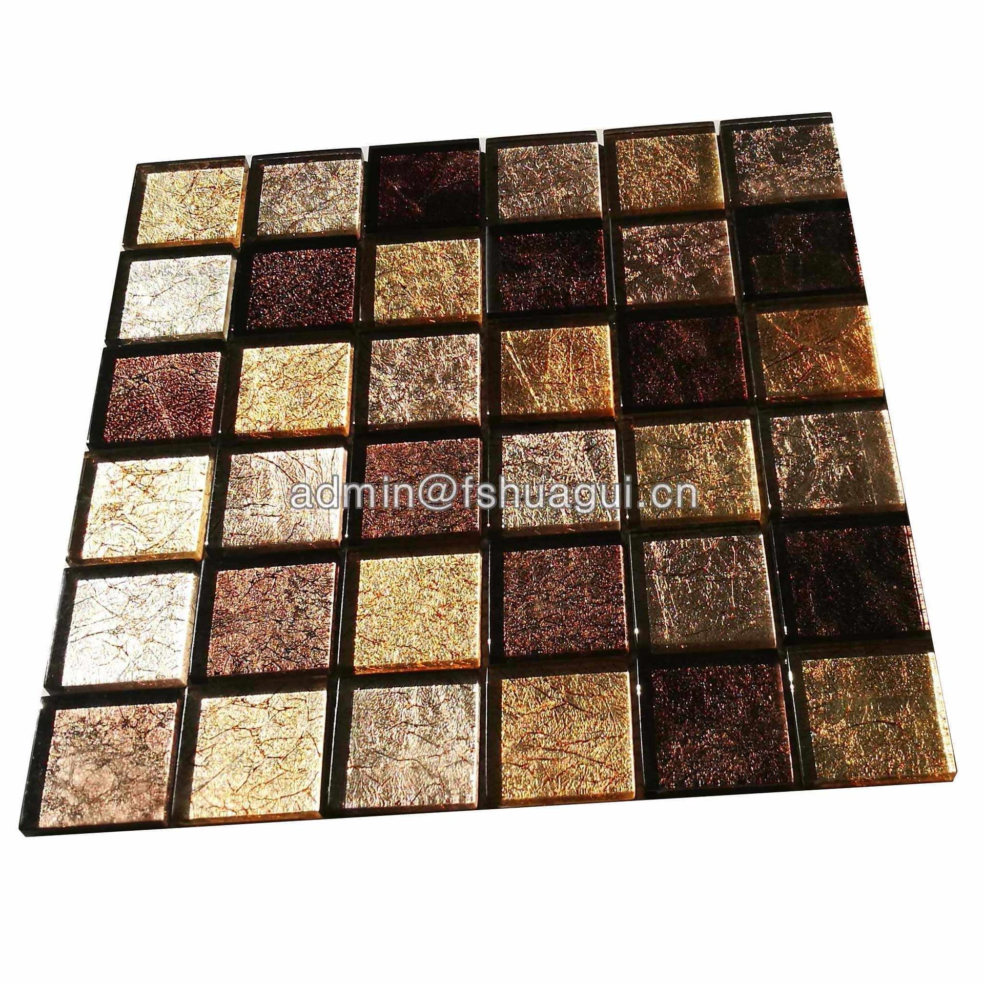 Factory price 48x48mm gold fabric glass mosaic tile