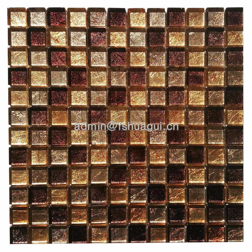 Gold mixed brown color fabric design glass mosaic wall tile