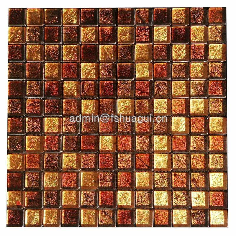 Beautiful gold color home decoration glass mosaic tile