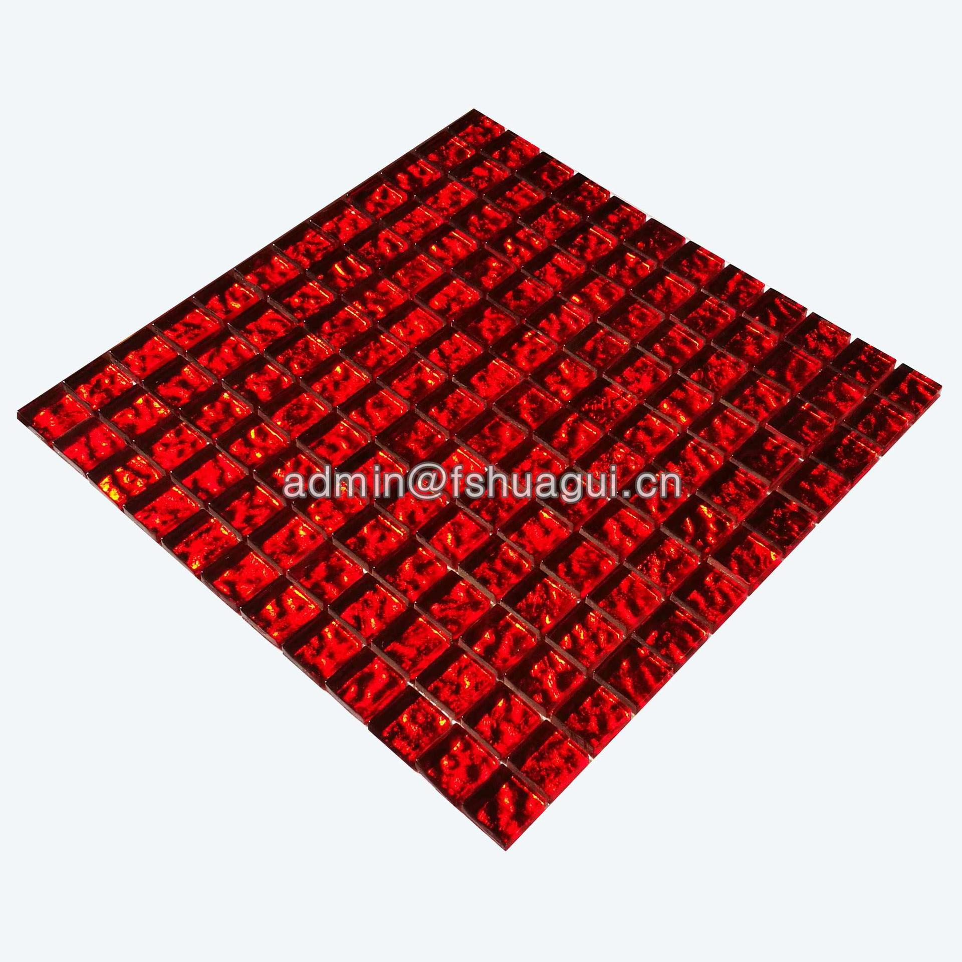 Square red crystal glass mosaic wall decoration tile