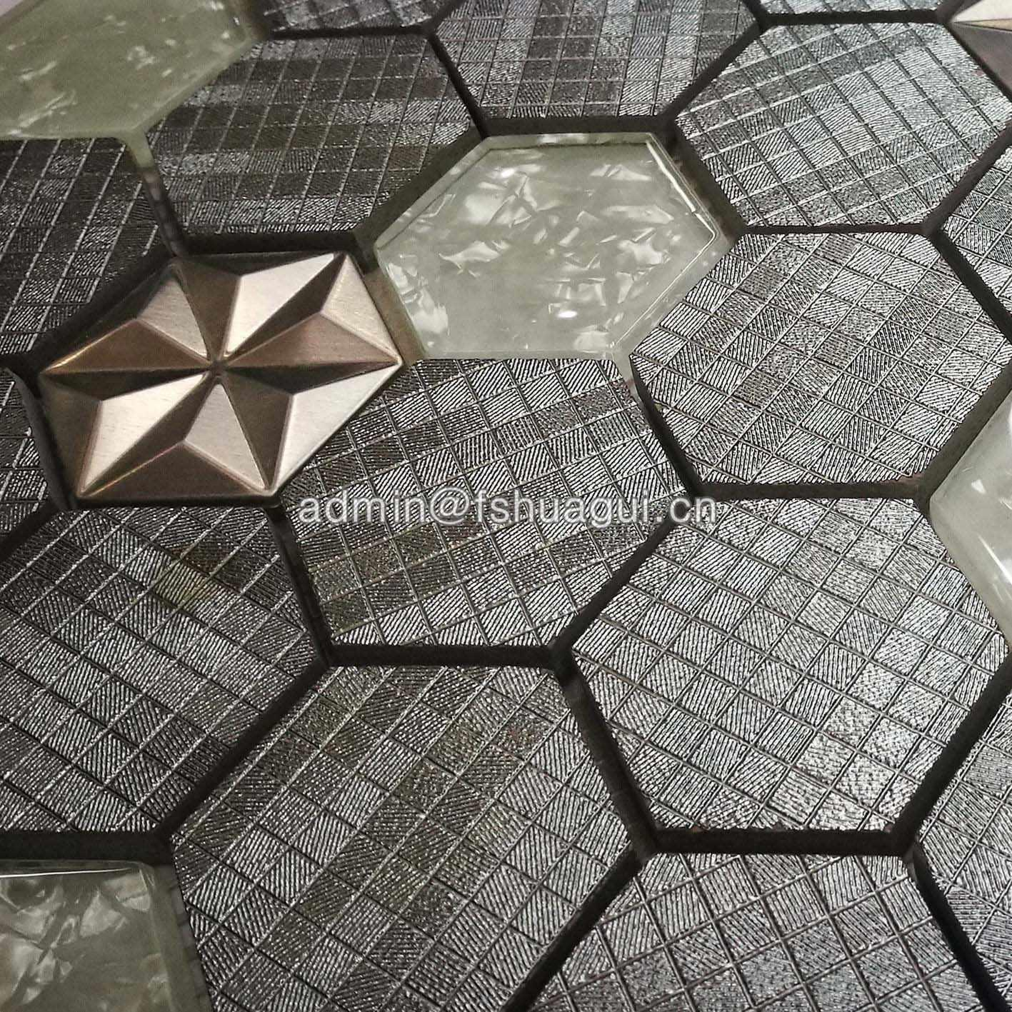 New design glitter hexagon glass,stone and metal mosaic tile