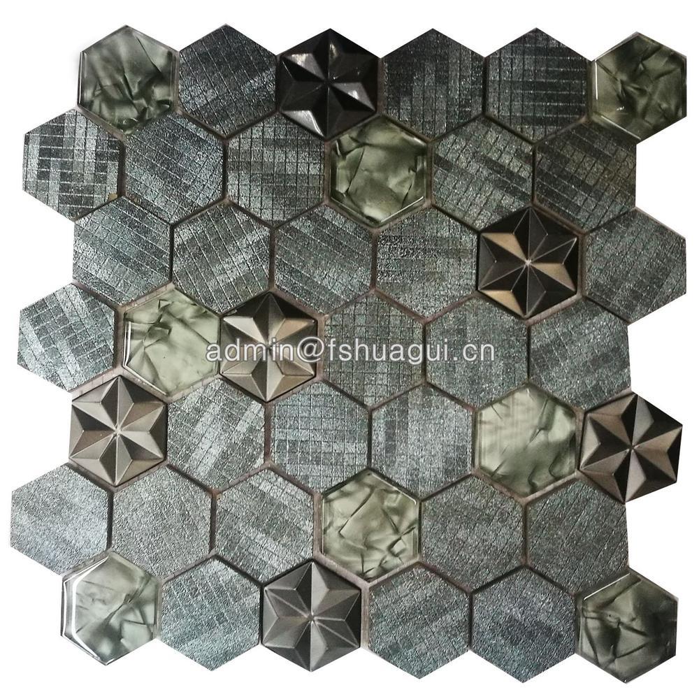 New design glitter hexagon glass,stone and metal mosaic tile