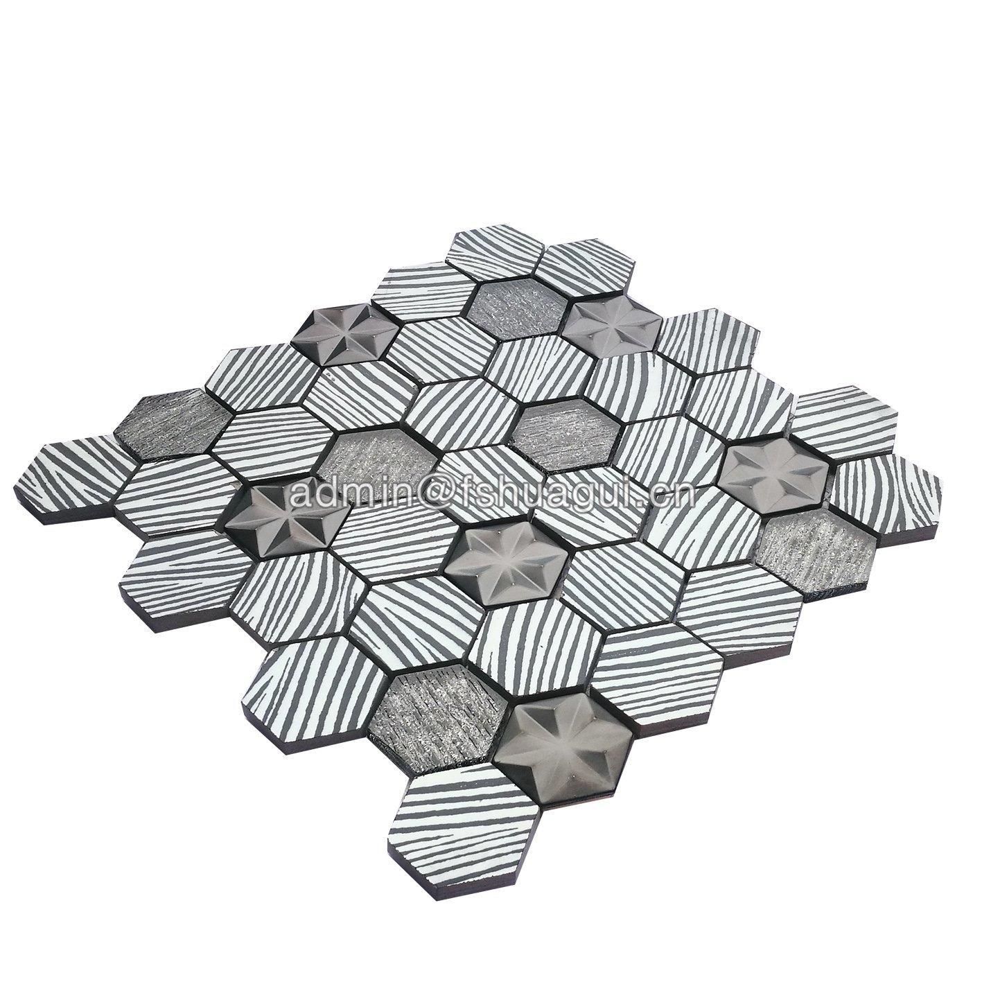 Fashion hexagon triangle star design wall backsplash metal color mosaic tile