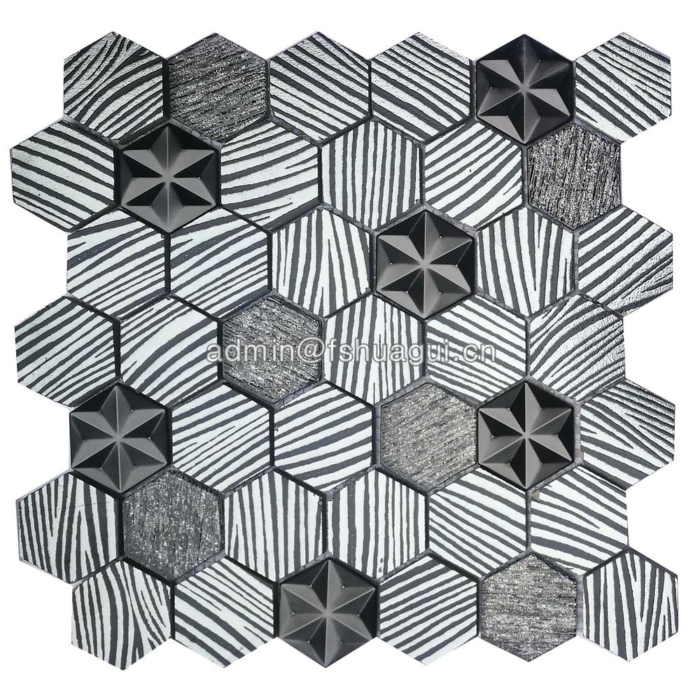 Fashion hexagon triangle star design wall backsplash metal color mosaic tile