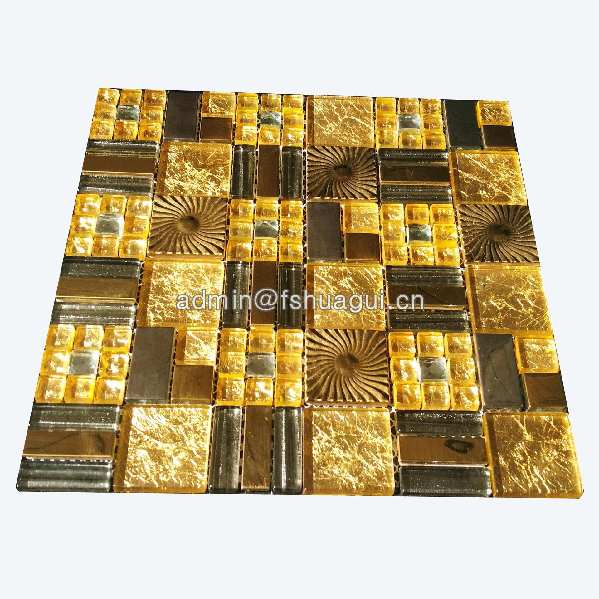 Free design gold glass mixed metal wall backsplash mosaic tile
