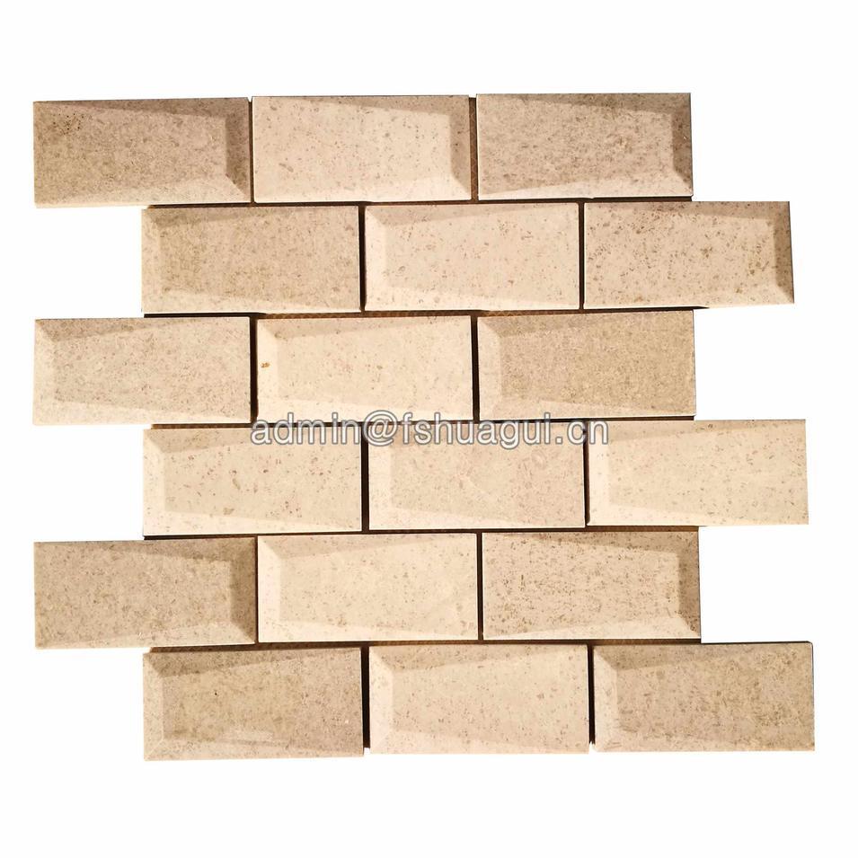 Bevel 3D brick marble natural stone mosaic tile