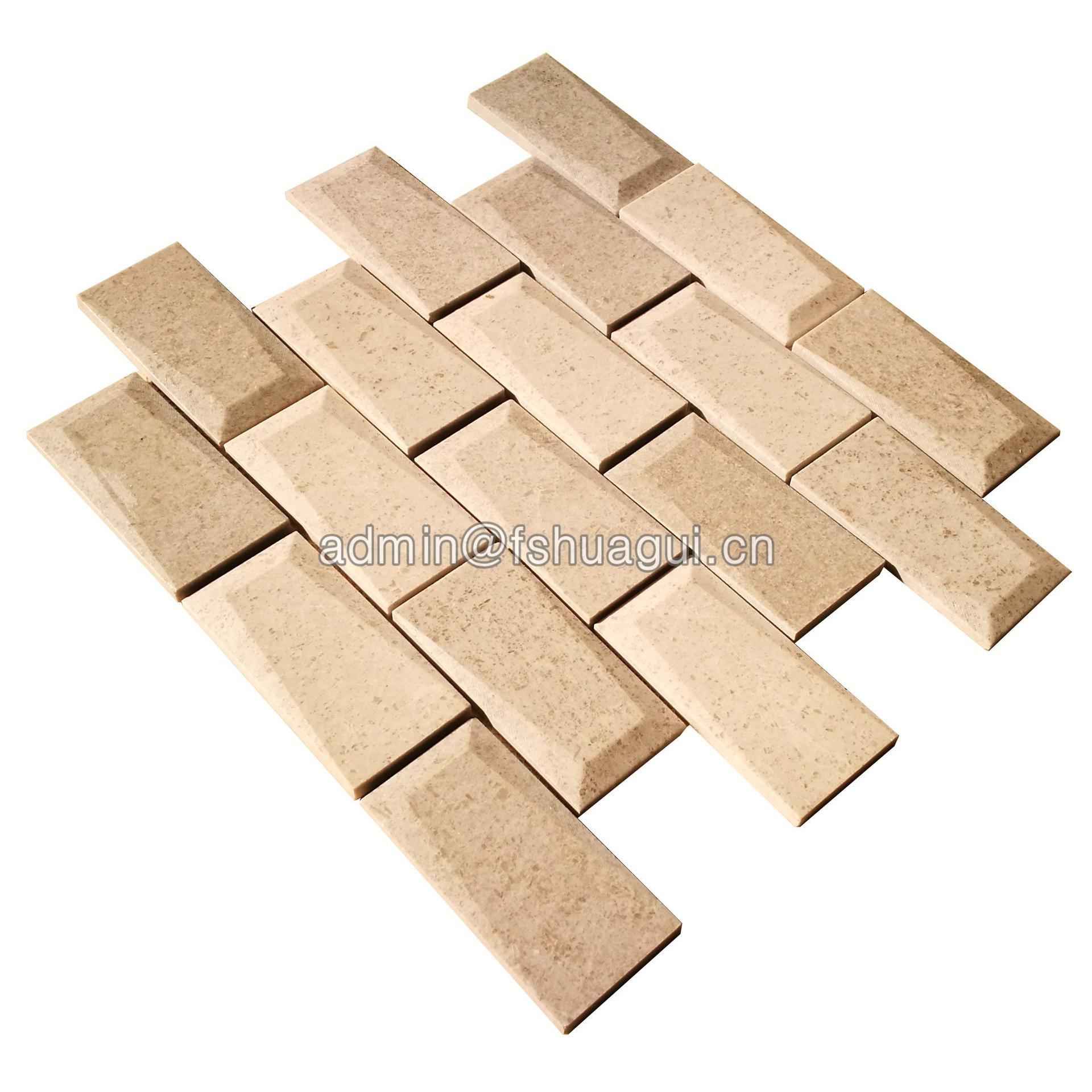 Bevel 3D brick marble natural stone mosaic tile