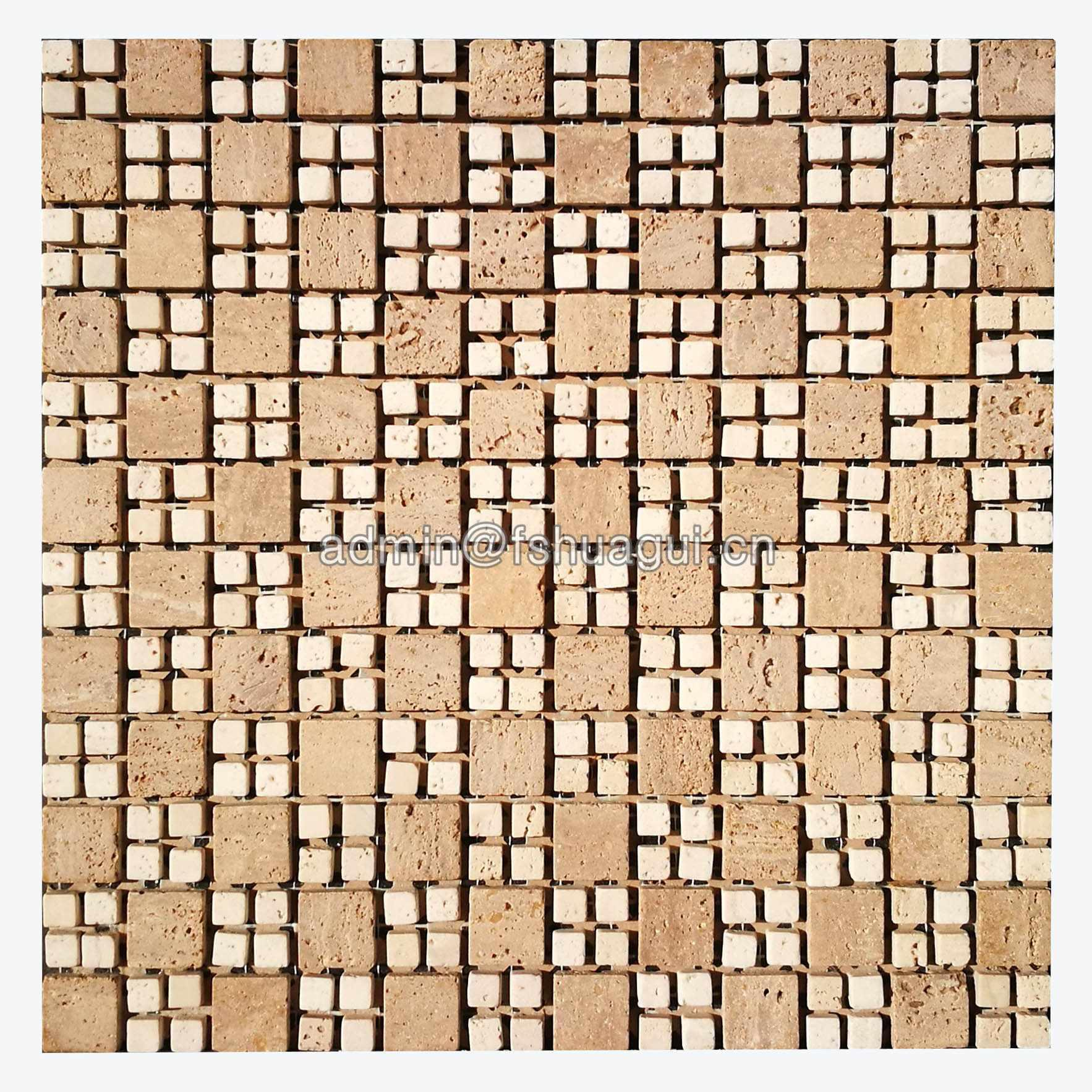 Natural Small Square Asperities Beige Stone Mosaic Tile