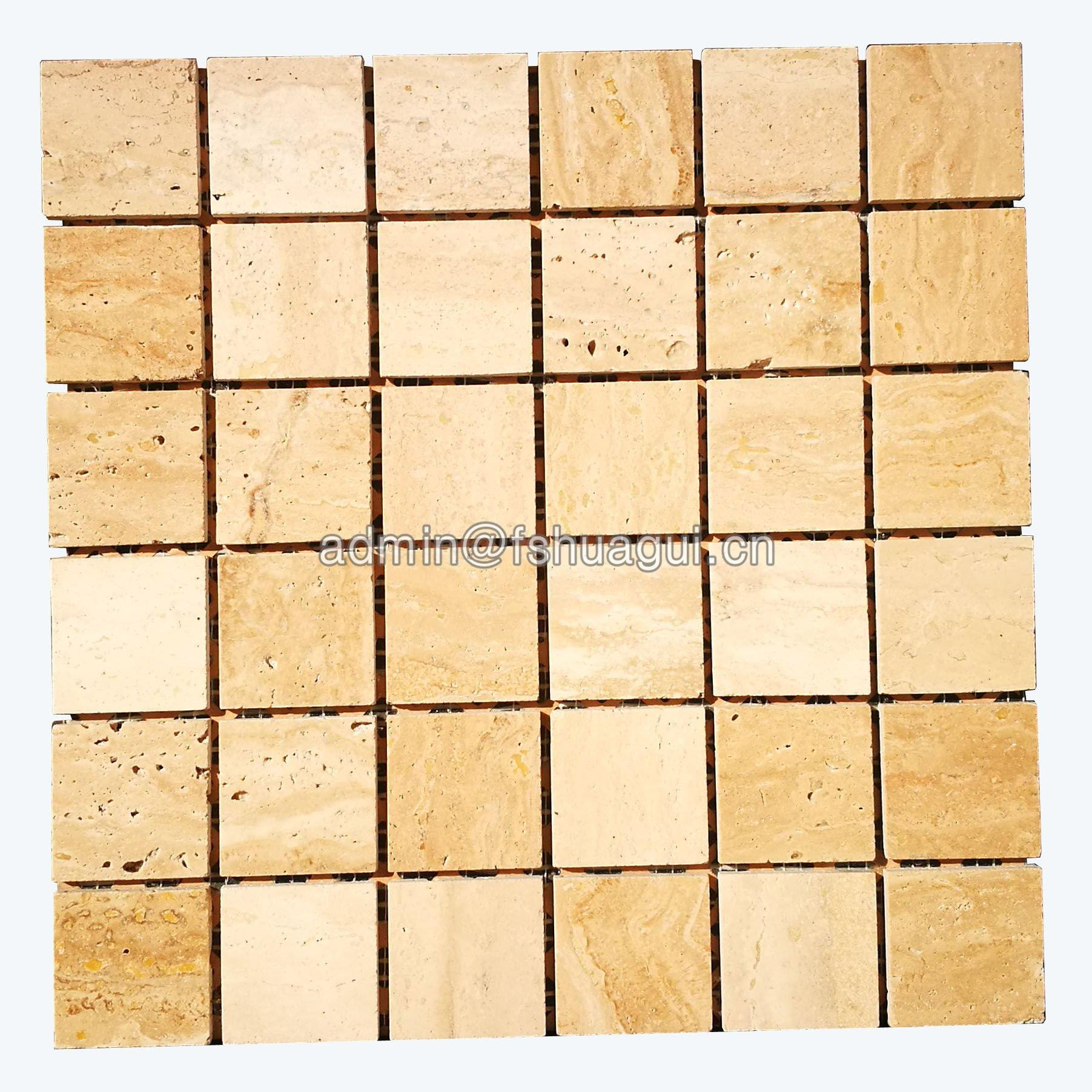 Beige color backsplash wall brick stone mosaic tile