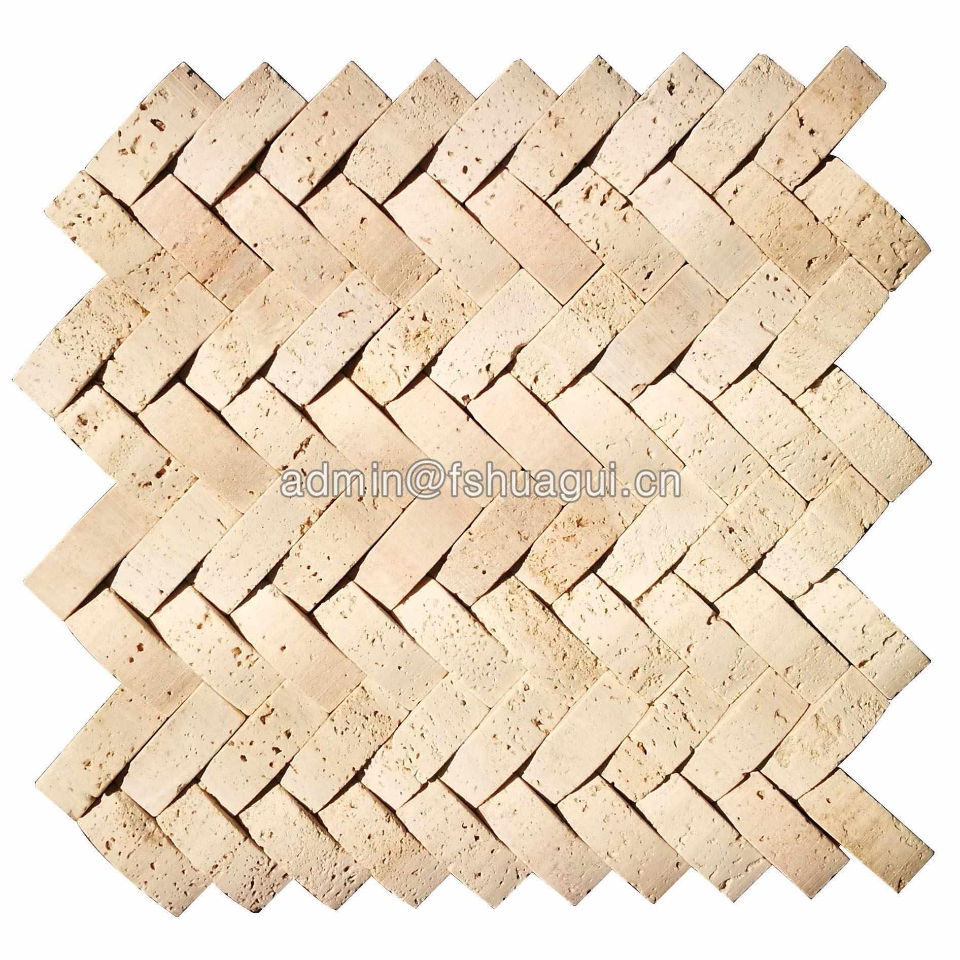 3D brick Egypt building style beige color stone mosaic tile