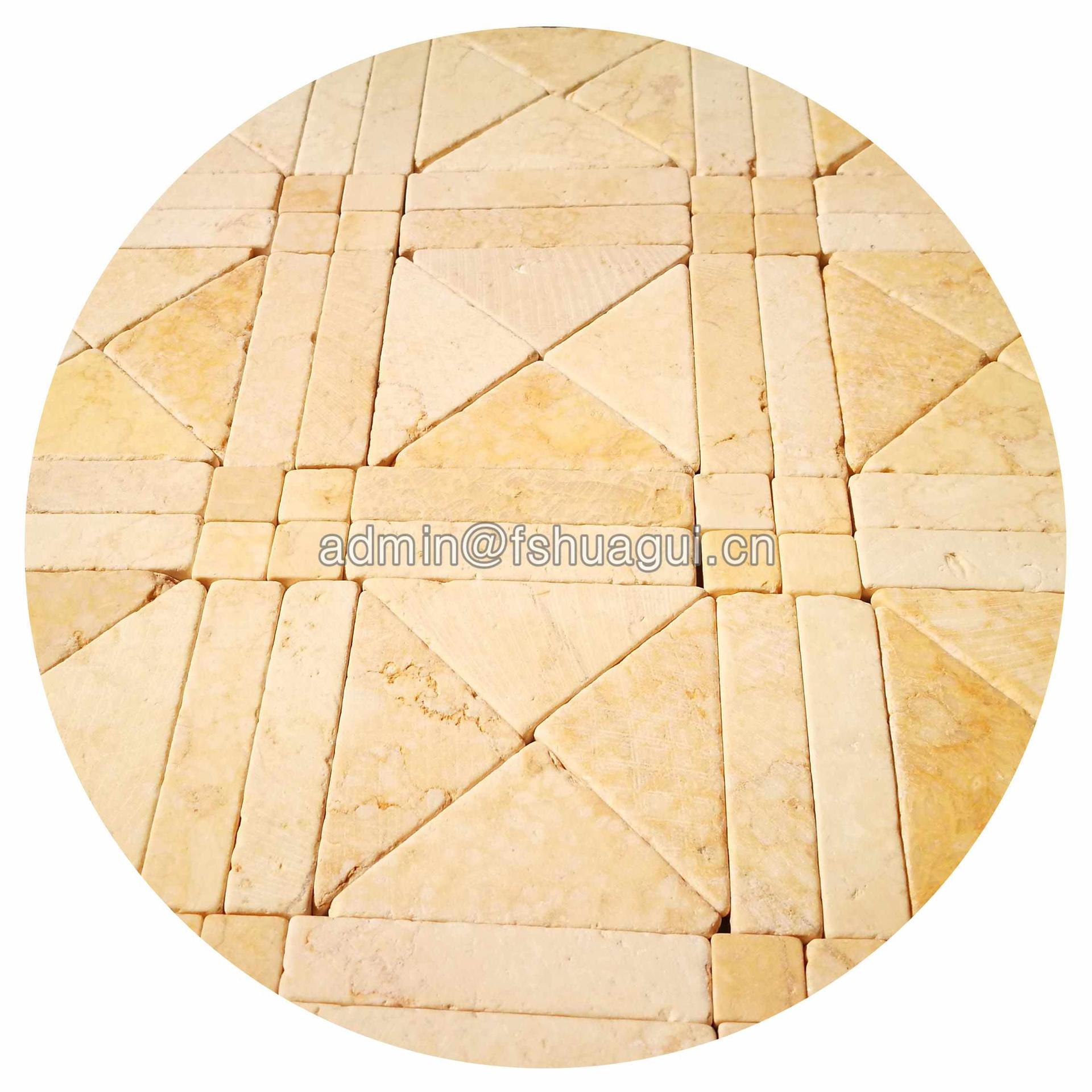Custom kitchen wall tie marble natural beige stone mosaic tile