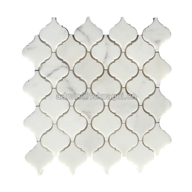 Water jet cutting lantern shape white marble stone mosaic tile