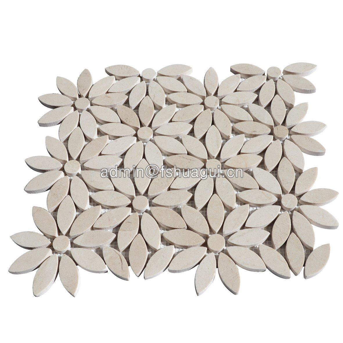 Factory price natural water jet marble stone mosaic tile for interior