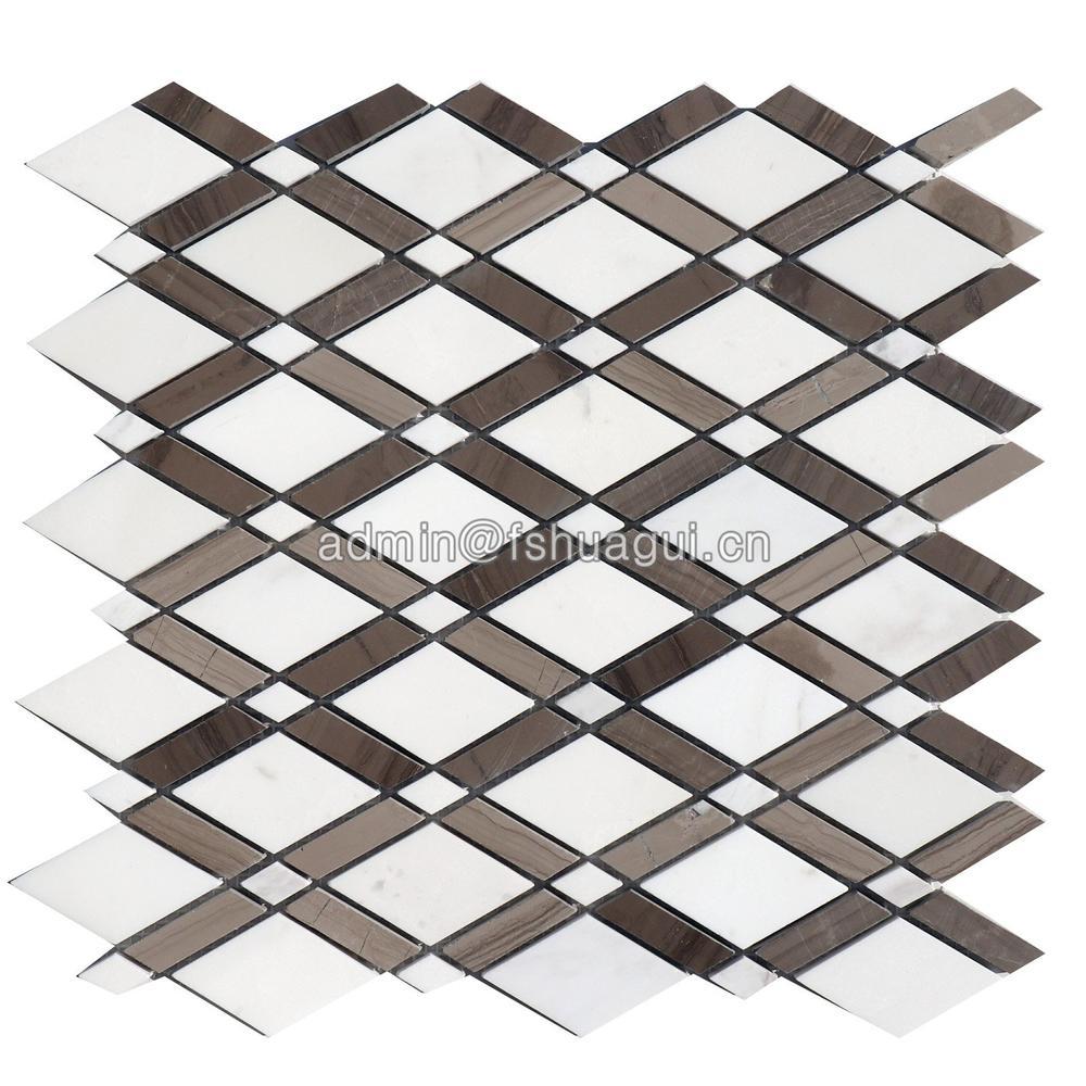 Fashion rhombus design marble stone water jet mosaic pattern tile