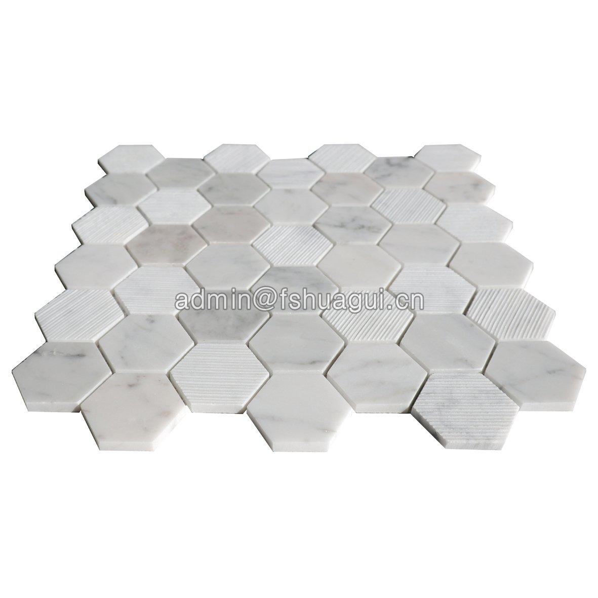Italy carrara white natural marble hexagon mosaic tile