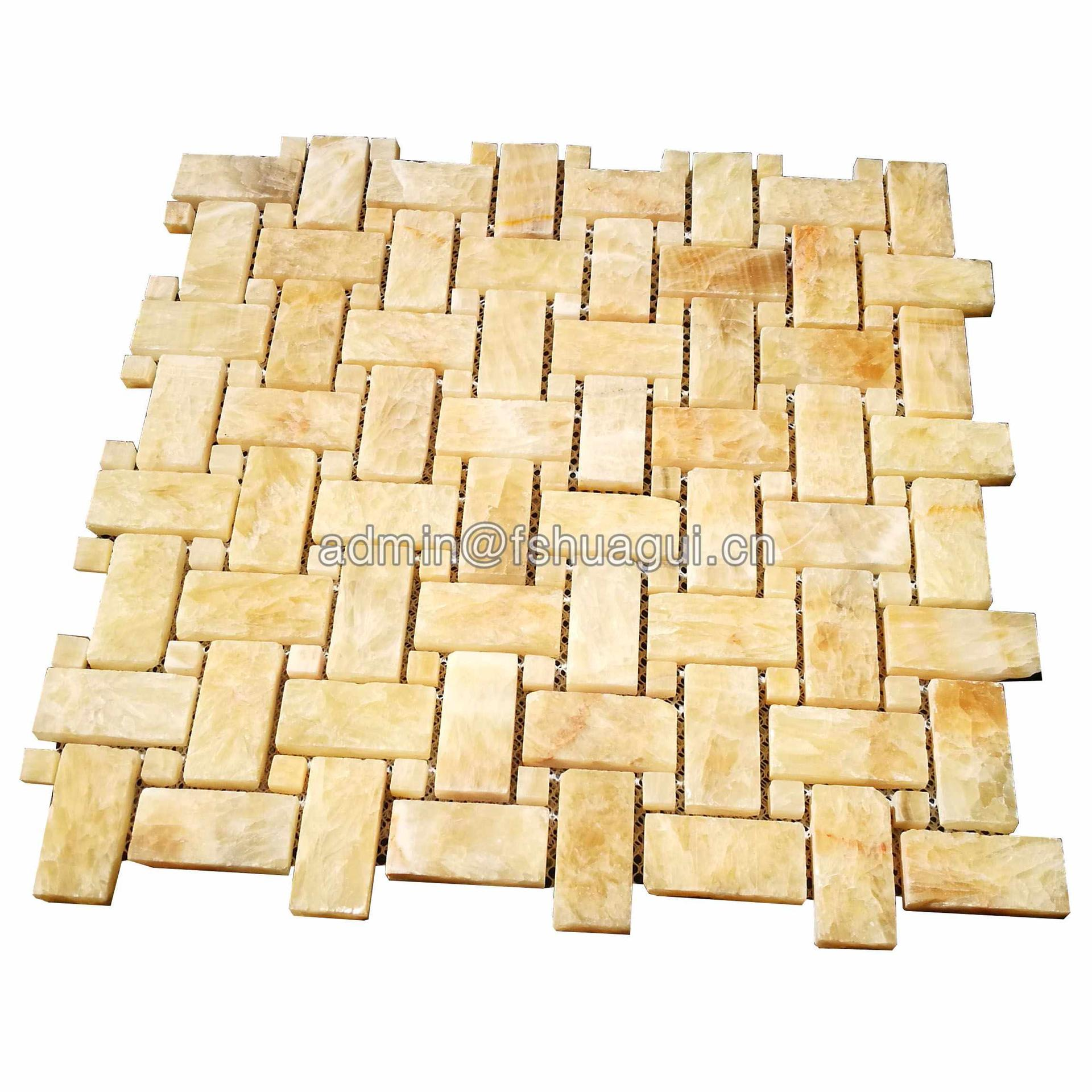 Natural beige color marble stone mosaic tile for wall decoration