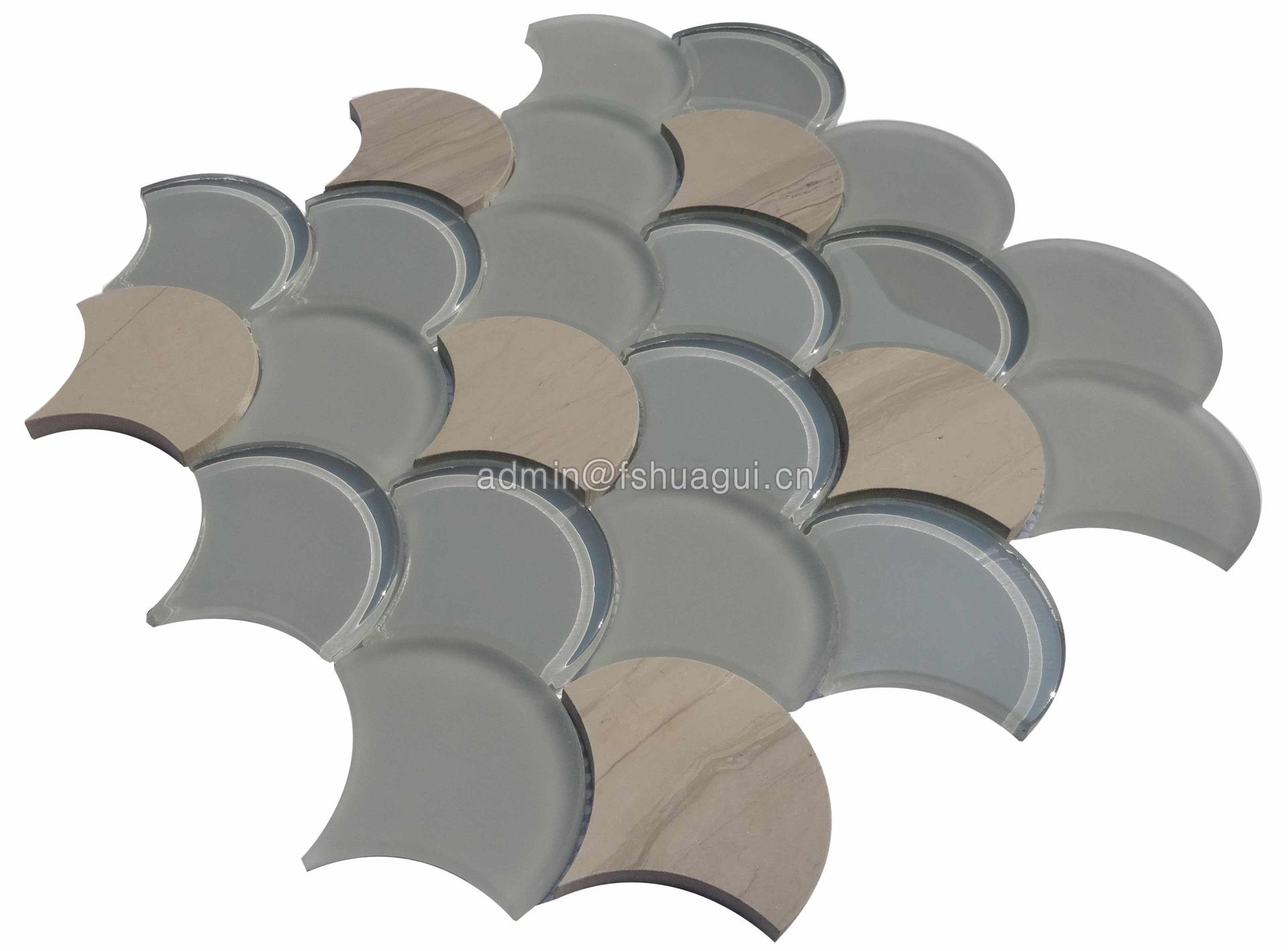 2019 New fan scale design glass mixed stone mosaic tile